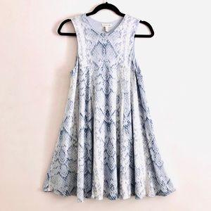 silence + noise Blue Gray Snake Print A-line Dress